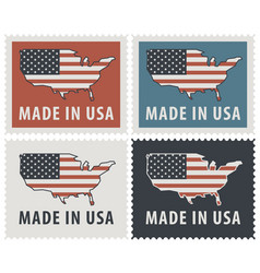 set of four postage stamps with american flag vector image vector image