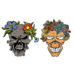Set of human terrible skulls vector