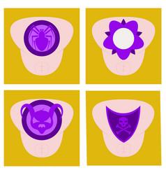 set of superhero color flat badges emblems logos vector image vector image
