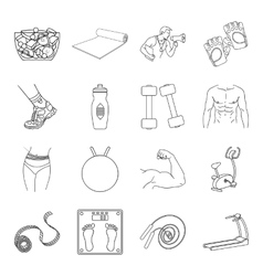 Sport and fitness set icons in outline style Big vector image vector image