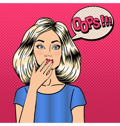 Surprised Woman Comic Style Pop Art Bubble Oops vector image