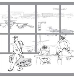 Terrorist in airport vector