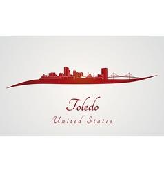 Toledo OH skyline in red vector image vector image