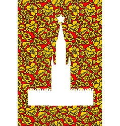 Tower Moscow Kremlin silhouette painted Khokhloma vector image vector image