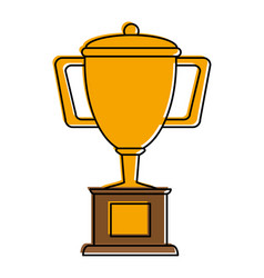 trophy cup on podium first place icon image vector image