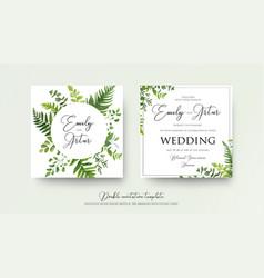 Wedding floral watercolor style double invite vector