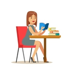 Woman reading a book at the table smiling person vector