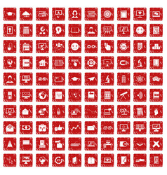 100 e-learning icons set grunge red vector