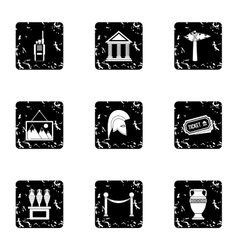 Going to museum icons set grunge style vector