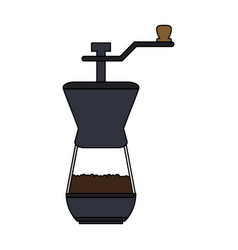 Color graphic coffee grinding jar with crank vector
