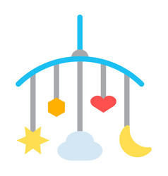 Hanging toys flat icon baby crib toys vector