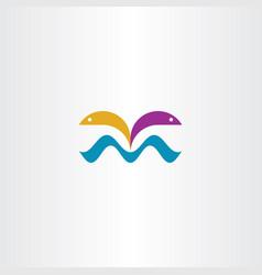 Fish jump from water symbol vector
