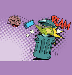 Brain electronics and a book thrown in the trash vector
