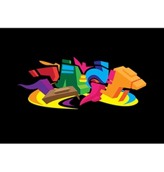 3d graffiti design vector