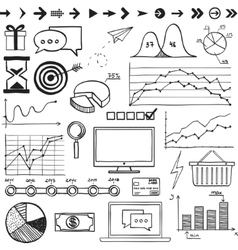 Business finanse hand draw doodle elements graph vector