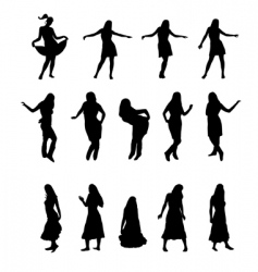 woman silhouettes set vector image