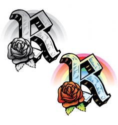 tattoo letter R vector image