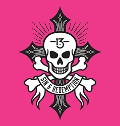 Skull and bones with cross vector