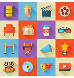 A detailed set of flat style cinema icons for web vector