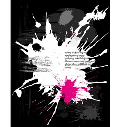 Grunge black background with splats vector