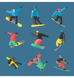 Snowboarder jump in different pose on background vector