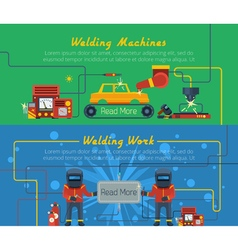 Two welding horizontal banners vector