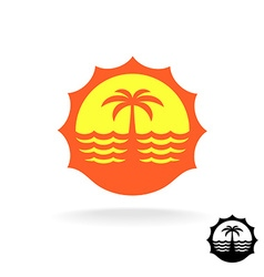 Sunset sea waves and palm silhouette tropical vector