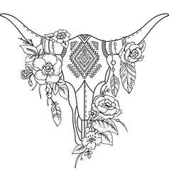 Decorative indian bull skull with ethnic vector
