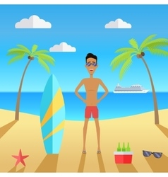 Man on beach with sand and palm vector