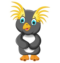 Cute king penguin cartoon posing vector