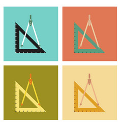 Assembly flat icons ruler compass vector