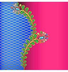 background with peacock feather jewelery and net vector image