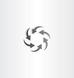 black arrow circle hexagon vector image vector image
