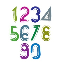 Calligraphic brush numbers with white outline vector