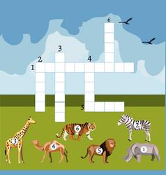 Cartoon crossword game with african animals vector