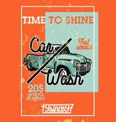 Color vintage car wash banner vector
