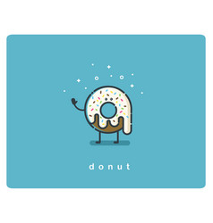 flat chocolate donut cartoon character vector image