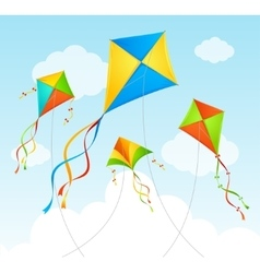 Fly kite summer background vector