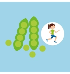 Girl jogger peas healthy lifestyle vector