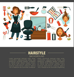 Hairstyle advertisement banner with stylist and vector