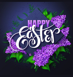 Happy easter card with lettering rhombus vector