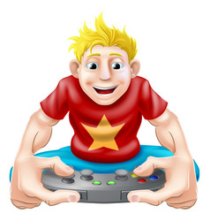 happy gamer vector image vector image