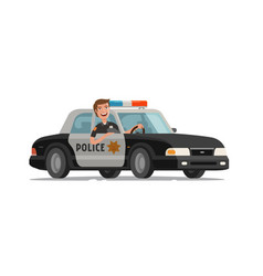 Happy policeman goes on police car with flashing vector