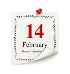 Happy Valentines day calendar sheet vector image