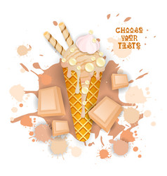 ice cream white chocolate cone colorful dessert vector image vector image