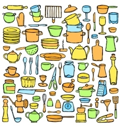 Kitchen Colorful Doodle Set vector image