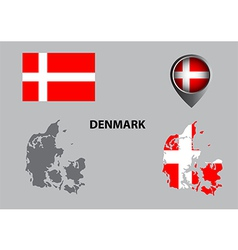 Map of Denmark and symbol vector image vector image