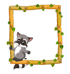 Raccoon on the wood frame with roots and leaf vector