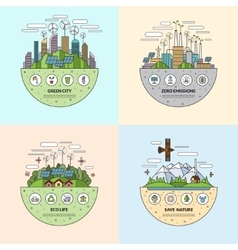 Set of ecology concept in flat style vector image