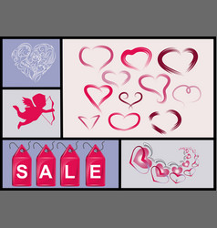 Set of hearts and sales label vector